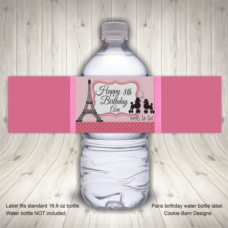 Paris Birthday Party Favors Water Bottle Label Theme