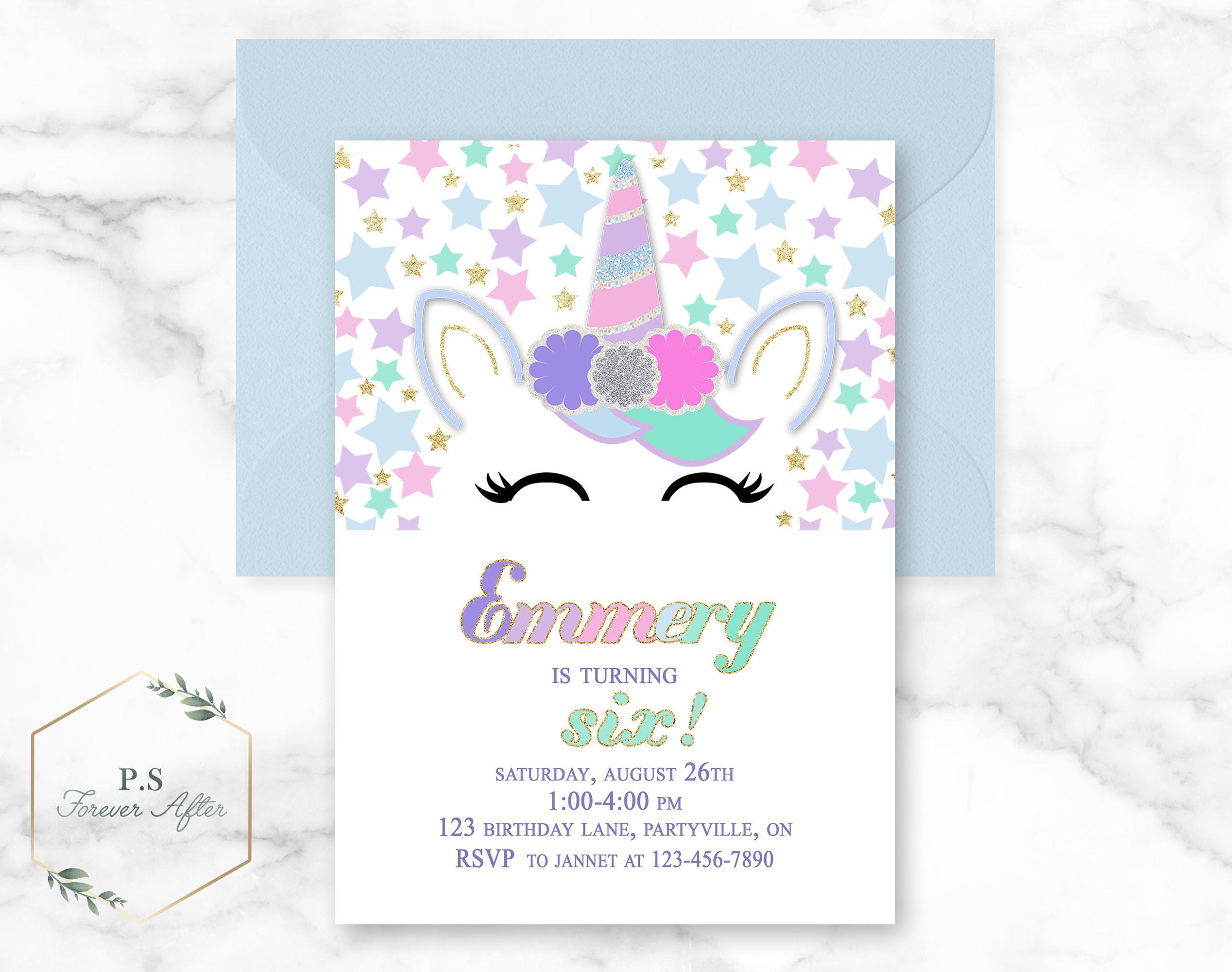 Geburtstags-Einladung druckbare Einhorn Einhorn-Party   Etsy