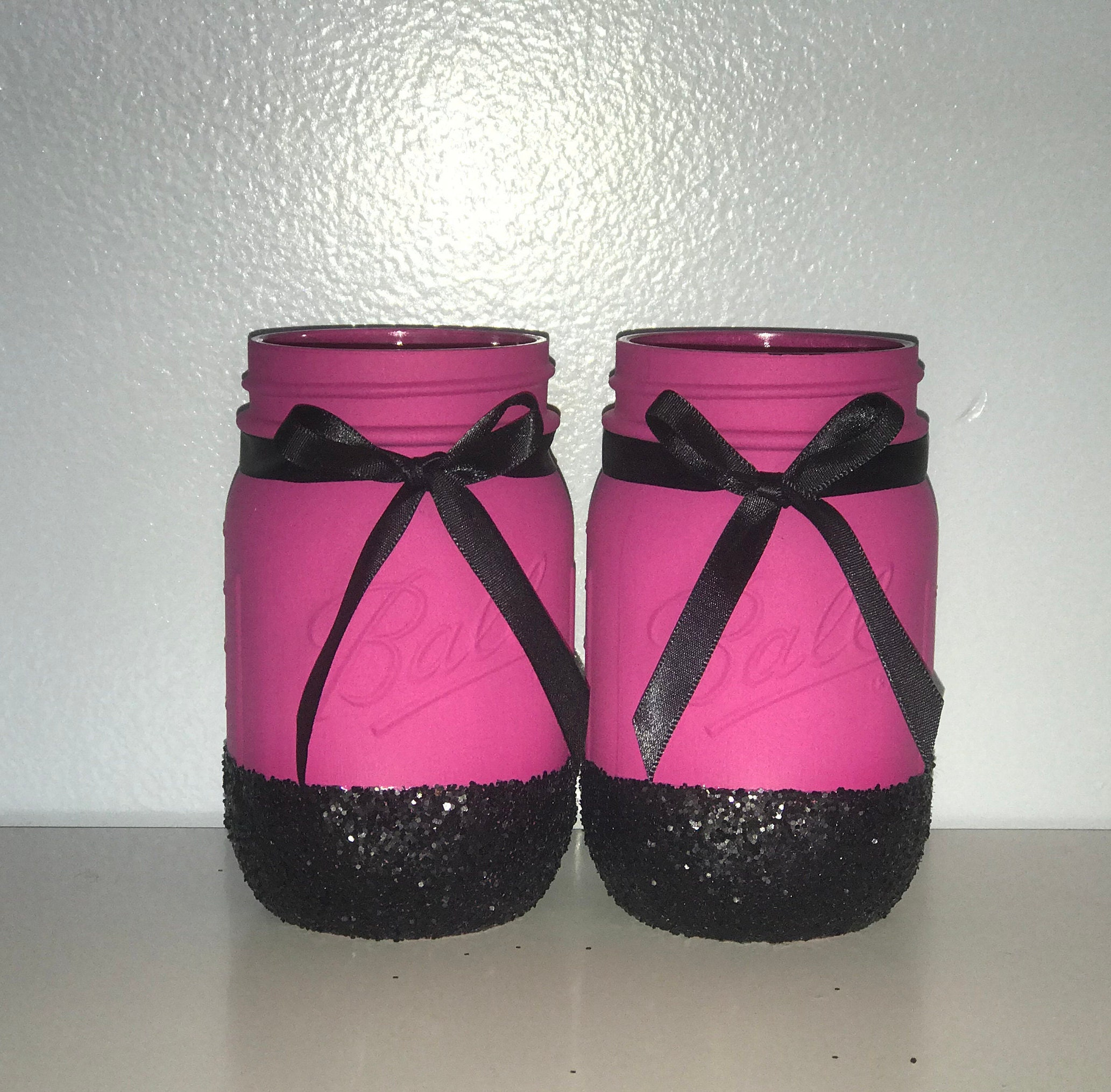 Hot Pink and Black Mason Jars Set of 2 Bachelorette Party   Etsy