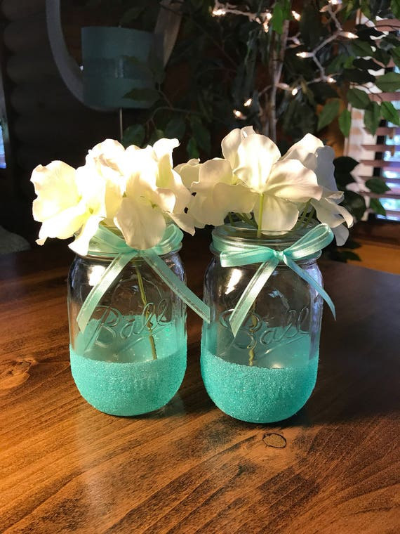 Glitter Mason Jars Set of 2 Wedding Decor Mason Jar Decor | Etsy