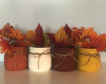 Fall Mason Jar Decor, Set of 4, Fall Centerpeices, Thanksgiving Decorations, Rustic Fall Wedding Decor, Wedding Centerpieces, Vintage Decor