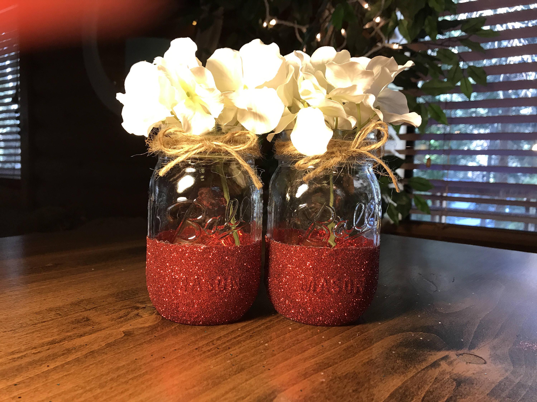 Glitter Mason Jars Set of 2 Wedding Decor Glitter Decor | Etsy