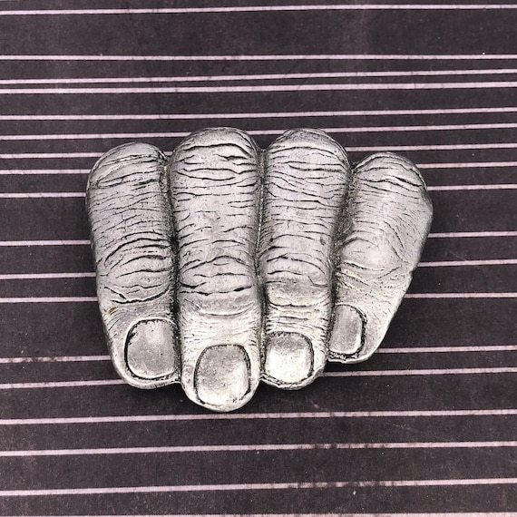 Vintage Silver Tone 4 Fingers - Hands in Pants Bel