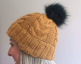 7176cc89c1b Mustard   gold wool and alpaca cable beanie