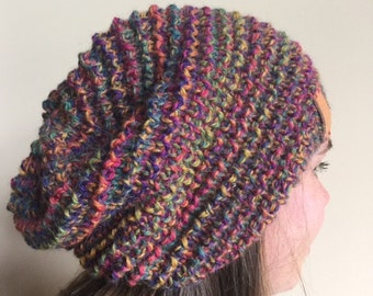 variegated bright hand knitted slouchy beanie