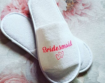 fcb0082f Personalised slippers, bridal party, gifts, slip ons, custom made,  presents, bridesmaid, bridal slippers.
