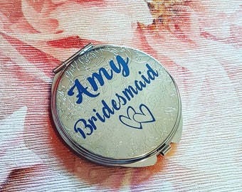 Personalised metallic compact mirror, custom, bridal party gift, beauty, make-up, ladies. Thank you wedding present.