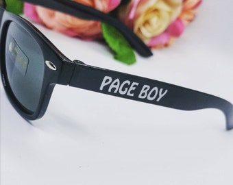 Page Boy Sunglasses, ring security gift, personalised wedding, fashion, ring bearer, flower girl, eyewear, children, childs, custom made.