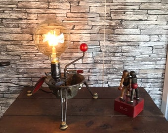 The mill lampesoriginales.com upcycled industrial lamp has vegetables - original vintage recycled lamp industrial loft kitchen decor
