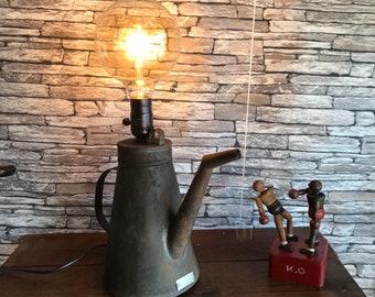 The old garage vintage sprinkler mounted into a lamp by lampesoriginales .com garage Mercedes benz can tank car