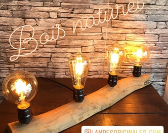 lampesoriginales.com presents the branch of natural wood with 4 led bulbs