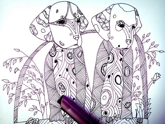 Cachorros dálmatas para colorear página & impresión de arte de | Etsy