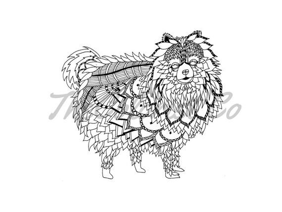 Página para colorear de perro Pomerania & impresión de arte de | Etsy