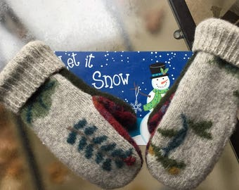 Felted wool sweater mittens