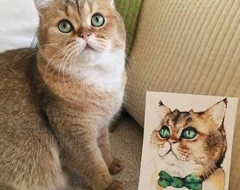 Hand-painted Custom Pet Portrait in Watercolor / aquarell / custom art / Pet Painting / Animal Art / Cat Painting / Dog Drawing / Gift idea