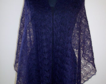 Mohair lace shawl. Handmade. Soft, warm, lightweight. Color Violet.