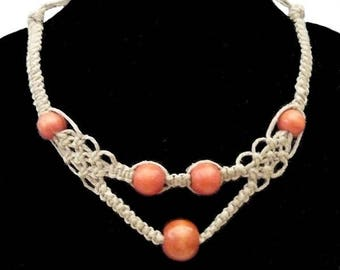 V shape necklace made of linen and Orange wood