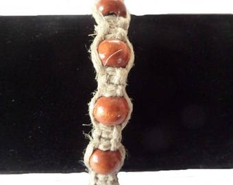 Bracelet M1 linen and Orange wood