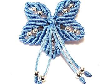 Macrame and blue satin flower brooch