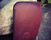 In Stock: Burgundy Bridle Full Grain Leather Wallet - Card Pocket w/ Bill Tuck Pouch