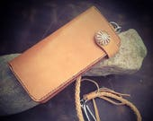 In Stock: Russet Veg Tan Leather Bifold Biker Tall Wallet