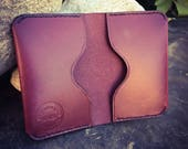 In Stock: Burgundy Full Grain Leather Folded Card Wallet
