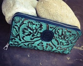 In Stock: Large Turquoise Leather Zipper Wallet Hand Sewn Saddle Stitch Coin Pouch