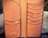 In Stock: Russet Brown Veg Tan Leather Bifold Gentleman's Tall / Jacket Wallet