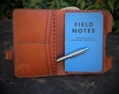 In Stock:  Chestnut Bridle Veg Tan Leather Passport Wallet / Field Notes Cover w/ Pen Holder & Card Pockets