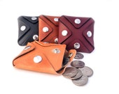 Made To Order:  Full Grain Leather Coin Pouch w/ 4 Snaps