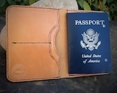 In Stock:  Full Grain Veg Tan Leather Passport Wallet - Russet Harness Leather