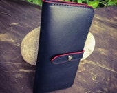 Ladies Black Leather Tall Wallet w/ Red Edges