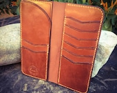 In Stock: Buck Brown Veg Tan Leather Bifold Gentleman's Tall / Jacket Wallet