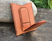 In Stock: Tan Bridle Leather Card Wallet w/ Magnetic Money Clip