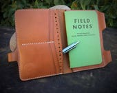 In Stock:  Tan Bridle Veg Tan Leather Passport Wallet / Field Notes Cover w/ Pen Holder & Card Pockets