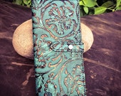 Ladies Turquoise Leather Tall Wallet