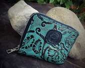In Stock: Small Turquoise Leather Zipper Wallet Hand Sewn Saddle Stitch