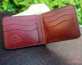 In-Stock, Ready To Ship. Burgundy Bridle Leather Bifold Wallet