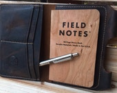 Brown Leather Passport Wallet / Field Notes Cover w/ Pen Holder & Card Pockets ~ Birthday, Anniversary or Valentines Day Gift