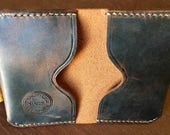 Brown Distressed Leather Folded Card Wallet
