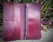 Ladies Burgundy Veg Tan Leather Tall Wallet Hand Stitched