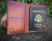 In Stock:  Burgundy Bridle Veg Tan Leather Passport Wallet / Field Notes Cover w/ Pen Holder & Card Pockets
