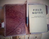 Brown Leather Field Notes Cover / Passport Cover w/ Pen Holder  ~ Birthday, Anniversary or Valentines Day Gift