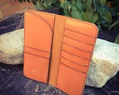 In Stock: Tan Veg Tan Leather Bifold Gentleman's Tall / Jacket Wallet