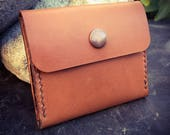 In Stock: Leather Coin Pouch w/ Snap - Tan Bridle Leather