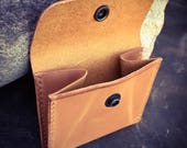 In Stock: Leather Coin Pouch w/ Snap - Russet Harness Leather