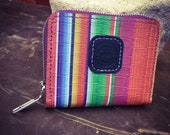 In Stock: Small Serape Print Leather Zipper Wallet Hand Sewn Saddle Stitch