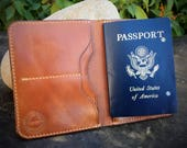 In Stock:  Full Grain Veg Tan Leather Passport Wallet - Buck Brown Harness Leather