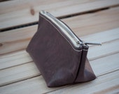 Purple Leather Makeup / Cosmetic Zipper Bag ~ Birthday, Anniversary or Valentines Day Gift
