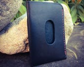 In Stock: Black Bridle Full Grain Leather Wallet - Card Pocket w/ Bill Tuck Pouch